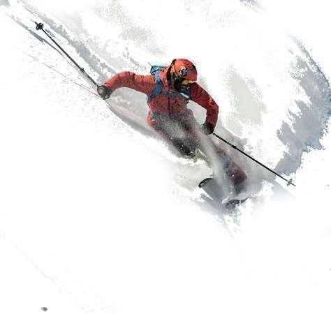 Freeride skier in a tight ski