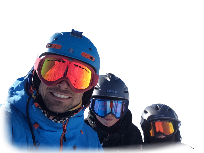 Ski instructor and two pupils
