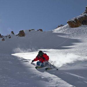 Skier turns on powder snow