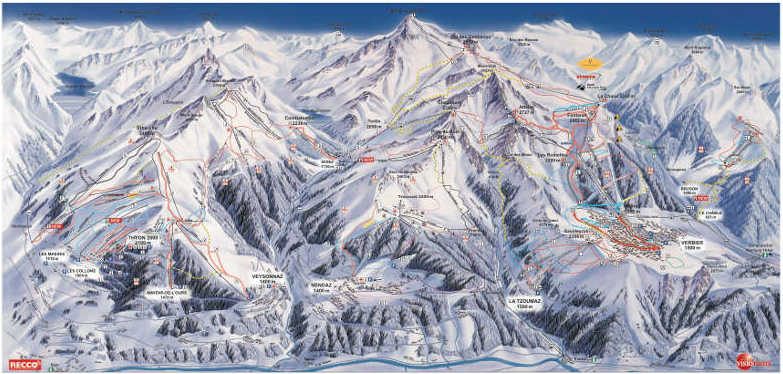 Verbier ski piste map photo