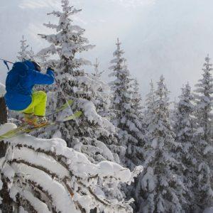 Skir jumping over a tree at Crans Montana