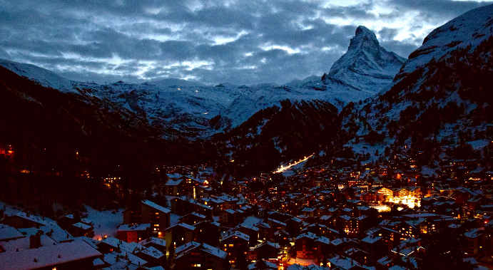 Zermatt resort views at night