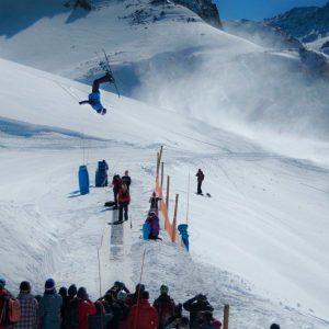 Ski Back flip over a path