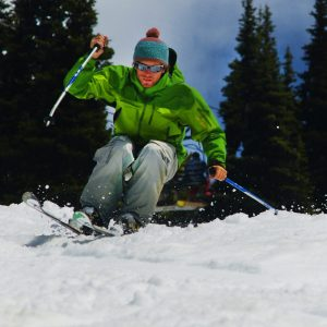 Ski instructor of dropin-snow skiing bumps