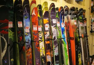 Selection of skis in a shop to sale