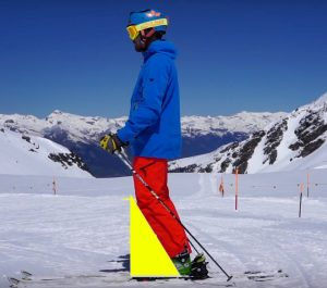 Skier in a longitudinal centered position