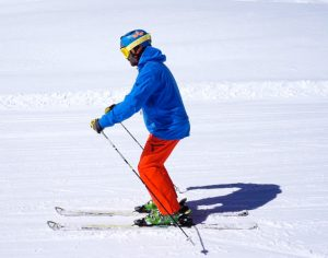 Skier in an intermidiate position