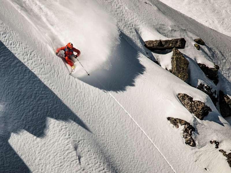 Skier off piste in Verbier