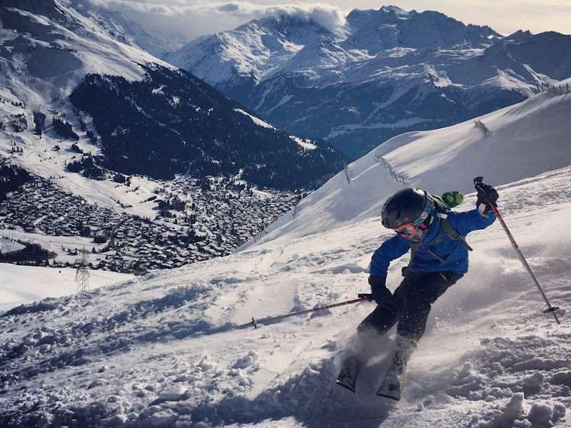 Kid skiing off piste in Verbier